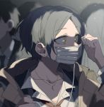 1girl ahn black_hair blazer coat crowd earphones earphones_removed earrings eyebrows_visible_through_hair formal hayami_kanade highres idolmaster idolmaster_cinderella_girls jacket jewelry looking_to_the_side mask mask_removed necklace necktie portrait short_hair suit surgical_mask yellow_eyes