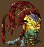 1boy blackdema brown_background feathers glowing glowing_eyes green_skin hat helmet kotal_kahn mortal_kombat mortal_kombat_x portrait simple_background solo yellow_eyes