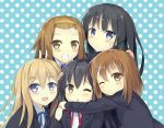 5girls :d :o ;) ;o akiyama_mio animal_ears black_hair blonde_hair blue_eyes blue_ribbon blush brown_eyes brown_hair cat_ears eyebrows_visible_through_hair headband hirasawa_yui hug k-on! kotobuki_tsumugi long_hair looking_at_viewer multiple_girls nakano_azusa one_eye_closed open_mouth polka_dot polka_dot_background red_ribbon ribbon short_hair smile sutorora tainaka_ritsu twintails
