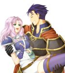 1boy 1girl aqua_eyes armor belt blue_hair breastplate breasts carrying circlet closed_eyes couple delsaber dress fingerless_gloves fire_emblem fire_emblem:_rekka_no_ken florina gloves grin hector_(fire_emblem) hetero lavender_hair long_hair looking_at_another open_mouth princess_carry short_hair simple_background smile tears thigh-highs upper_body white_background