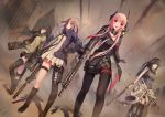 4girls absurdres assault_rifle asymmetrical_legwear black_gloves black_hair black_jacket black_legwear black_necktie black_shorts black_skirt blue_eyes brown_hair dress eyebrows_visible_through_hair fang floating_hair girls_frontline gloves green_eyes gun hairband hand_on_hip highres holding holding_gun holding_weapon holster jacket jay_xu knife long_hair looking_at_viewer m16 m16a1_(girls_frontline) m4_carbine m4_sopmod_ii_(girls_frontline) m4a1_(girls_frontline) multiple_girls necktie open_mouth outdoors pantyhose pink_hair red_eyes rifle short_dress short_shorts shorts skirt st_ar-15_(girls_frontline) standing sweater_vest thigh-highs thigh_holster thigh_strap weapon white_dress zipper