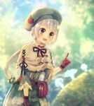 1girl :d arm_at_side blurry blurry_background breloom brown_eyes dress gloves green_dress green_hat hair_bobbles hair_ornament hat index_finger_raised moe_(hamhamham) mushroom open_mouth outdoors personification pokemon pom_pom_(clothes) ponytail pouch red_gloves short_hair smile solo white_hair
