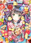 1girl animal animal_on_head bangs bird black_hair blush bowl camellia_(flower) chick chick_on_head chopsticks eyebrows_visible_through_hair fisheye floral_print flower food fruit furisode green_eyes hair_ornament hands_up holding holding_bowl holding_chopsticks holding_food japanese_clothes kanzashi kimono looking_at_viewer mandarin_orange on_head open_mouth original red_kimono seiza sitting solo soramu striped striped_kimono triangle_mouth wide_sleeves year_of_the_rooster zouni_soup