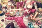 2girls :o black_legwear blonde_hair blueberry bottle box butler cake cake_stand chocolate_cake cup cupcake curtains dress drinking_glass flower food formal frilled_skirt frills fruit gift gift_box gloves green_eyes hair_between_eyes hair_ribbon hand_on_own_chest heart highres ice_cream key lava_cake layered_dress looking_at_another looking_at_viewer multiple_girls on_bed original outstretched_arm pantyhose parfait pillow pink_rose pouring puffy_short_sleeves puffy_sleeves purple_ribbon reclining red_eyes ribbon rose short_hair short_sleeves shortcake silver_hair skirt smile strawberry suit two_side_up white_gloves white_rose wine_bottle wine_glass yumeichigo_alice