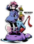 1boy 1girl blue_eyes duster_(mother) frog hood hoodie kumatora mother_(game) mother_3 nanamako pink_hair rope_snake short_hair smile