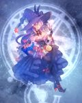 1girl ;) black_legwear bow breasts constellation dress full_body gloves hat hat_bow hat_flowers hat_ornament highres invisible_chair large_breasts legs_crossed licking_lips long_hair medallion mismagius moe_(hamhamham) one_eye_closed personification pokemon purple_bow purple_dress purple_gloves purple_hair purple_hat sitting smile solo thigh-highs tongue tongue_out vial witch_hat