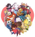 :3 :d alphys annoying_dog asgore_dreemurr black_hair brown_hair cape chara_(undertale) closed_eyes eye_contact facing_viewer flowey_(undertale) food frisk_(undertale) frown glasses goat_girl grin hair_over_one_eye hands_in_pockets hands_together heart horns jacket knife looking_at_another mary_cagle mettaton mettaton_ex napstablook open_mouth orange_scarf papyrus_(undertale) pasta plate red_cape redhead sans scarf sharp_teeth shirt slippers smile spaghetti striped striped_shirt tail teeth temmie toriel undertale undyne w.d._gaster