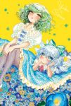 2girls adapted_costume alternate_color alternate_costume blue_dress blue_eyes blue_hair blush bow bowtie character_name cirno clover dated dress floral_print flower four-leaf_clover frills green_hair hair_bow hair_ornament hair_ribbon ice ice_wings jpeg_artifacts kazami_yuuka legs_up looking_at_another lying multiple_girls on_stomach open_mouth pansy pantyhose plaid plaid_skirt print_legwear puffy_sleeves red_eyes ribbon shirt short_hair short_sleeves simple_background sitting skirt takatora touhou vest wings yellow_background