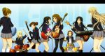 6+girls akiyama_mio black_hair black_legwear blonde_hair brown_hair copyright_name drum drum_set drumsticks guitar hairband hirasawa_ui hirasawa_yui holding instrument k-on! kotobuki_tsumugi letterboxed long_hair microphone multiple_girls nakano_azusa pantyhose revision saitou_sumire school_uniform shian_(my_lonly_life.) short_hair sitting skirt suzuki_jun tainaka_ritsu twintails