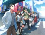 3boys 5girls adjusting_hair akihabara_(tokyo) amane_suzuha animal_ears apron baseball_cap belt bike_shorts black_hair black_legwear blue_eyes boots braid breasts brown_hair building cat_ears cellphone closed_eyes clouds cloudy_sky collared_shirt dress drill_hair facial_hair faris_nyannyan fat fat_man flip_phone glasses green_eyes hair_ribbon hand_in_pocket handkerchief hands_together hashida_itaru hat high_heels index_finger_raised jacket japanese_clothes kiryuu_moeka labcoat light_brown_hair lineup logo_parody long_hair looking_at_another looking_at_viewer maid maid_apron maid_headdress makise_kurisu midriff miko miniskirt multiple_boys multiple_girls necktie nekorin_(nekoforest) off_shoulder okabe_rintarou one_eye_closed one_leg_raised open_mouth pants pantyhose parody perspective phone pink_eyes pink_hair profile ribbon road sandals sega shadow shiina_mayuri shirt shoes short_hair shorts_under_skirt skirt sky smile socks sofmap steins;gate street stubble sun_hat sweat trap tray twin_braids twin_drills urushibara_ruka walking wide_sleeves