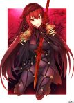 1girl armor artist_name blush bodysuit breasts covered_navel fate/grand_order fate_(series) full_body gae_bolg gloves holding holding_weapon jewelry long_hair looking_at_viewer polearm purple_bodysuit purple_hair red_eyes scathach_(fate/grand_order) serious shoulder_armor smile solo spear veil weapon
