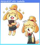 1girl animal_ears blonde_hair blush_stickers clipboard closed_eyes dog_ears dog_tail doubutsu_no_mori furry mary_cagle open_mouth round_teeth shizue_(doubutsu_no_mori) smile solo tail teeth topknot yawning