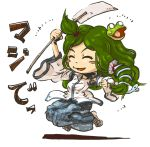 1girl closed_eyes commentary_request detached_sleeves frog frog_hair_ornament gohei green_hair hair_ornament kochiya_sanae long_hair niy_(nenenoa) open_mouth smile snake snake_hair_ornament solo touhou