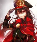 1girl belt black_hair cape commentary_request demon_archer fate_(series) fujikiri_yana gloves grey_gloves hair_between_eyes hand_on_headwear hat highres koha-ace long_hair looking_at_viewer military military_uniform open_mouth petals red_cape red_eyes smile solo uniform