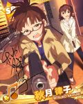 akizuki_ritsuko angry at_gunpoint brown_hair brown_jacket building card_(medium) character_name city flats glasses gun handgun idolmaster idolmaster_million_live! jewelry jpeg_artifacts kasuga_mirai necklace official_art pink_shirt pistol pointing pointing_at_viewer shirt side_ponytail skyscraper weapon