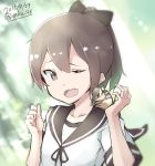 1girl 2015 animal artist_name brown_eyes brown_hair commentary_request dated hair_ribbon highres kantai_collection long_hair mku nut_(food) one_eye_closed open_mouth ponytail ribbon school_uniform serafuku shikinami_(kantai_collection) smile solo squirrel twitter_username