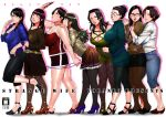 6+girls belt black_hair black_legwear black_skirt breasts brown_hair capri_pants cleavage ganto glasses hair_bun high_heels large_breasts long_hair mature miniskirt multiple_girls opaque_glasses original pants pantyhose self-portrait short_hair shorts skirt sweater tank_top turtleneck turtleneck_sweater yuri