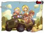2boys 2girls :d alcohol alien backpack bag bandanna beer blonde_hair blue_eyes bread brown_eyes brown_hair chibi cigarette closed_eyes closed_mouth clouds copyright_name drink driving fio_germi food glasses ground_vehicle hat head_scarf headband jeep kalata kasamoto_eri looking_at_viewer marco_rossi metal_slug military military_vehicle motor_vehicle mouth_hold multiple_boys multiple_girls open_mouth ponytail short_sleeves shorts sitting sky smile smoking sunglasses tarma_roving tied_hair ufo vehicle vest