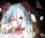 1girl aqua_hair bai_yemeng bangs blurry broken_mask card choker closed_eyes clown_mask collarbone depth_of_field diamonds_(playing_card) falling_card flipped_hair flower frown gears gradient_hair hair_between_eyes hair_flower hair_ornament hatsune_miku hearts_(playing_card) joker karakuri_pierrot_(vocaloid) king_(playing_card) lace lens_flare lips long_hair mask multicolored_hair nail_polish number playing_card portrait raised_eyebrow red_nose revision smile solo tears twintails vocaloid wristband