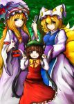 3girls absurdly_long_hair absurdres alternate_eye_color animal_ears armband bangs blonde_hair blue_eyes blush bow breasts brown_eyes brown_hair cat_ears cat_tail chen day dress fan fangs_out flat_chest folding_fan fox_tail frilled_skirt frills green_hat hair_between_eyes hair_bow half-closed_eyes hat hat_ribbon highres holding holding_umbrella long_hair long_sleeves looking_at_viewer mob_cap multiple_girls multiple_tails parasol parted_lips pillow_hat pose red_skirt red_vest ribbon shirt sidelocks skirt small_breasts standing tabard tail touhou tree two_tails umbrella very_long_hair vest wawawa_(kazutanukiti) white_dress white_shirt wide_sleeves yakumo_ran yakumo_yukari