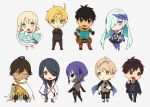 ahoge archer_(fate/prototype_fragments) armor assassin_(fate/prototype_fragments) bare_shoulders berserker_(fate/prototype_fragments) black_hair blonde_hair blush caster_(fate/prototype_fragments) chibi dark_skin dress fate/prototype fate/prototype:_fragments_of_blue_and_silver fate_(series) fingerless_gloves gloves green_eyes kitano_tatsumi lancer_(fate/prototype_fragments) long_hair looking_at_viewer mask multiple_boys nakahara_(mu_tation) open_mouth ponytail purple_hair rider_(fate/prototype_fragments) saber_(fate/prototype) sajou_manaka short_hair silver_hair skull smile violet_eyes yellow_eyes