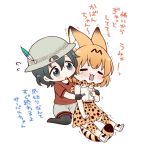 2girls animal_ears black_eyes black_gloves black_hair blush bow bowtie bucket_hat closed_eyes commentary_request flying_sweatdrops gloves hat hat_feather high-waist_skirt kaban_(kemono_friends) kemono_friends multiple_girls nail_clippers open_mouth orange_hair red_shirt serval_(kemono_friends) serval_ears serval_print serval_tail shirt short_hair shorts simple_background sitting skirt sleeveless sleeveless_shirt striped_tail tail tears thigh-highs translation_request trembling wariza white_background