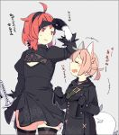 1boy 1girl ahoge animal_ears black_dress blindfold blindfold_lift blindfold_removed blonde_hair caltina_(pepekekeko) choker cleavage_cutout closed_eyes comic commentary_request cosplay dress feather-trimmed_sleeves flat_chest fox_ears fox_tail gloves holding holding_sword holding_weapon jacket long_sleeves nier_(series) nier_automata open_mouth orange_eyes orange_hair original pekeko_(pepekekeko) phantasy_star phantasy_star_online_2 shima_(pepekekeko) short_hair smile sweatdrop sword tail tan_background thigh-highs translation_request trap trench_coat weapon yorha_no._2_type_b yorha_no._2_type_b_(cosplay) yorha_no._9_type_s yorha_no._9_type_s_(cosplay)
