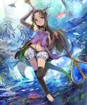 3girls arms_up barefoot blurry bridal_gauntlets brown_hair contrapposto depth_of_field fish floating_hair head_tilt horns light long_hair looking_at_viewer manta_ray midriff multiple_girls navel ocean pointy_ears puffy_shorts rhodomina shadowverse shingeki_no_bahamut shorts staff sunlight thigh-highs underwater violet_eyes weapon