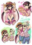 +_+ :p aori_(splatoon) bandanna blue_pants blue_shorts brown_hat casual cousins cropped_torso domino_mask earrings eating english food food_on_face hands_on_headwear hat holding holding_food hotaru_(splatoon) jewelry long_hair looking_at_viewer mask mole mole_under_eye one_eye_closed pants pink_shoes pointy_ears pose quiche self_shot shirt shoes short_hair short_sleeves shorts smile sneakers splatoon striped striped_shirt sunglasses sweatdrop t-shirt tentacle_hair tongue tongue_out wong_ying_chee