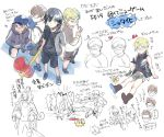 5boys armband bandaid bandaid_on_nose baseball_cap black_hair blonde_hair blue_eyes boots brown_hair carrying carrying_under_arm child cor_leonis fat final_fantasy final_fantasy_xv gameplay_mechanics gladiolus_amicitia glasses grin hat heart hood hoodie ignis_scientia jacket male_focus multiple_boys noctis_lucis_caelum opaque_glasses open_clothes open_jacket p-nekor piko_piko_hammer prompto_argentum short_hair shorts shoulder_carry simple_background smile squatting suspenders translation_request vest water_gun white_background younger
