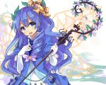 1girl blue_eyes blue_hair blush breasts character_request curly_hair duel_monster gloves highres holding holding_staff long_hair looking_at_viewer nomalandnomal open_mouth smile solo staff