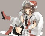1girl ahoge bangs black_necktie black_skirt boots brown_eyes brown_hair chibirisu double-breasted double_bun dress fur-trimmed_boots fur-trimmed_gloves fur_trim gloves grey_background hat high_heel_boots high_heels kantai_collection knees_up layered_skirt naka_(kantai_collection) necktie open_mouth red_boots red_gloves sack santa_hat scrunchie short_hair sitting skirt solo tie_clip uniform white_skirt