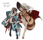 2girls alternate_costume animal_ears asymmetrical_wings bare_legs bell black_hair black_legwear bracelet breasts brown_eyes brown_hair detached_sleeves full_body futatsuiwa_mamizou glasses gourd groin holding holding_pipe houjuu_nue japanese_clothes jewelry jpeg_artifacts kimono kiseru leaf leaf_on_head long_sleeves mask multiple_girls no_bra no_panties one_eye_closed open_clothes open_mouth pipe raccoon_ears raccoon_tail red_eyes rei_(sanbonzakura) revealing_clothes sandals sash short_hair short_kimono simple_background single_sleeve smile snake standing standing_on_one_leg tail text thigh-highs touhou white_background wide_sleeves wings yukata