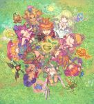 4girls 6+boys angela_(seiken_densetsu_3) armor artist_request blonde_hair blue_eyes breasts capelet charlotte_(seiken_densetsu_3) cleavage crossover downblouse dryad_(seiken_densetsu) facepaint fisheye from_above gnome_(seiken_densetsu) green_eyes grin hands_clasped headband heroine_(seiken_densetsu_1) highres jinn_(seiken_densetsu) kevin long_hair looking_up luna_(seiken_densetsu) multiple_boys multiple_crossover multiple_girls official_art orange_hair outstretched_hand pink_hair pointy_ears popoie purim randi riesz salamander_(seiken_densetsu) seed seiken_densetsu seiken_densetsu_1 seiken_densetsu_2 seiken_densetsu_3 shade_(seiken_densetsu) shield small_breasts smile spiky_hair square_enix undine_(seiken_densetsu) will-o'-wisp_(seiken_densetsu)