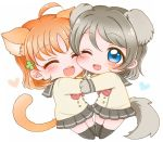 2girls ^_^ ahoge animal_ears bangs black_legwear blue_eyes bow bowtie cat_ears cat_tail cheek_press closed_eyes clover_hair_ornament dog_ears dog_tail double-breasted grey_hair hair_ornament heart kemonomimi_mode long_sleeves love_live! love_live!_sunshine!! miniskirt multiple_girls noramaru_(norarara821) one_eye_closed open_mouth orange_hair paws pleated_skirt red_bow red_bowtie school_uniform serafuku short_hair skirt smile tail takami_chika watanabe_you