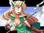 1girl blonde_hair blue_eyes blush bow breasts cleavage dress forehead_jewel gloves green_bow green_dress hair_bow helmet highres holding holding_weapon long_hair low-tied_long_hair nave polearm riesz seiken_densetsu seiken_densetsu_3 solo spear very_long_hair weapon