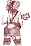 danielle_brindle from_behind garter_straps gun highres meme_attire monochrome original ponytail ribbed_sweater rifle scarf sweater thigh-highs virgin_killer_sweater weapon