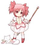 1girl blush bow elbow_gloves eyebrows_visible_through_hair gloves hair_bow kaname_madoka kyubey looking_at_viewer mahou_shoujo_madoka_magica miiyon pink_bow pink_eyes pink_hair smile