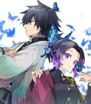 1boy 1girl animal back-to-back belt black_hair black_jacket blue_butterfly blue_eyes blush breasts bug butterfly butterfly_hair_ornament butterfly_on_finger butterfly_on_head buttons closed_mouth commentary_request cosplay costume_switch eyebrows_visible_through_hair gradient_hair hair_between_eyes hair_ornament haori highres insect jacket japanese_clothes kimetsu_no_yaiba kochou_shinobu kochou_shinobu_(cosplay) leele_(maruet) looking_at_viewer looking_away medium_breasts medium_hair multicolored_hair open_clothes ponytail purple_hair short_hair smile tomioka_giyuu tomioka_giyuu_(cosplay) twitter_username uniform violet_eyes white_belt white_jacket
