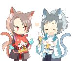 2boys ^_^ animal_ears black_hair brown_hair cat_ears cat_tail closed_eyes crossover earrings eating fangs food food_on_face hakama haori houhou_(black_lack) ice_cream ice_cream_cone japanese_clothes jewelry jibanyan kashuu_kiyomitsu kemonomimi_mode komasan male_focus mole mole_under_eye mole_under_mouth multiple_boys nail_polish open_mouth red_eyes red_nails scarf shinsengumi smile tail touken_ranbu yamato-no-kami_yasusada youkai_watch