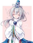 1girl ^_^ blue_hat blue_skirt blush closed_eyes facing_viewer green_ribbon grey_hair hair_between_eyes hands_in_sleeves hat heart heart_of_string japanese_clothes kariginu long_hair mononobe_no_futo open_mouth pink_background pom_pom_(clothes) ponytail red_ribbon ribbon ribbon-trimmed_sleeves ribbon_trim signature skirt sleeves_past_wrists sleeves_together smile solo tate_eboshi touhou turtleneck upper_body wide_sleeves yukimiya_(parupunta)