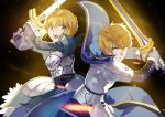 1boy 1girl ahoge armor armored_dress blonde_hair breasts dual_persona excalibur fate/prototype fate/stay_night fate_(series) gauntlets green_eyes hair_bun hair_ribbon long_hair looking_at_viewer nanaya_(daaijianglin) ribbon saber saber_(fate/prototype) short_hair sword weapon