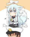 1boy 1girl admiral_(kantai_collection) animal_ears black_legwear black_skirt blue_eyes brown_hair commentary_request dog_ears dog_tail flat_cap hammer_and_sickle hat hibiki_(kantai_collection) holding holding_glass kantai_collection long_hair neckerchief no_eyes nonono_(mino) on_head pleated_skirt school_uniform serafuku silver_hair sitting skirt star sweat sweatdrop tail thigh-highs verniy_(kantai_collection)