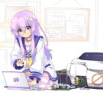 1girl bad_anatomy choujigen_game_neptune computer d-pad glasses hair_ornament highres laptop long_hair nepgear neptune_(series) nomalandnomal purple_hair robot solo striped striped_legwear thigh-highs violet_eyes