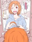 2girls ahoge bangs bed blurry blush bowl cellphone collar cup depth_of_field dog hair_ornament hairclip half_updo highres hood hood_down kougi_hiroshi long_hair loungewear love_live! love_live!_sunshine!! messy_hair mirror multiple_girls one_eye_closed pet_bowl phone red_eyes reflection rubber_duck sakurauchi_riko self_shot shiitake_(love_live!_sunshine!!) skirt slippers smartphone sparkle takami_chika tears toothbrush toothpaste wavy_mouth white_skirt yawning