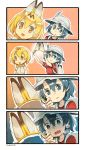 2girls 4koma animal_ears artist_name backpack bag black_eyes black_hair blonde_hair bow bowtie breath bucket_hat comic elbow_gloves fake_animal_ears gloves hairband hairband_removed hat hat_feather heavy_breathing highres holding kaban kemono_friends multiple_girls nonco open_mouth serval_(kemono_friends) serval_ears serval_print shirt short_hair silent_comic sweat t-shirt trembling yellow_eyes
