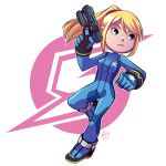 1girl black_eyes blonde_hair bodysuit clenched_hand finger_on_trigger full_body gun mary_cagle metroid ponytail samus_aran sidelocks signature solo weapon zero_suit