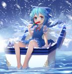 1girl absurdres bare_legs barefoot blue_dress blue_eyes blue_hair cirno commentary_request dress eating food highres ice ice_wings lo-ta popsicle puffy_short_sleeves puffy_sleeves revision short_dress short_sleeves sitting sleeveless sleeveless_dress snowing solo touhou watermelon_bar wings