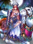 1girl barefoot_sandals beko-atwks breasts camel cape cleavage coconut_tree company_name copyright_name full_body gem grass gyakushuu_no_fantasica horns jewelry long_hair moon necklace night night_sky official_art palm_tree pointy_ears redhead ring sky solo tree violet_eyes