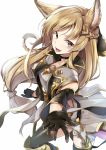 1girl animal_ears armor blonde_hair braid erun_(granblue_fantasy) gloves granblue_fantasy kakao_rantan long_hair looking_at_viewer open_mouth red_eyes simple_background smile solo yuisis_(granblue_fantasy)